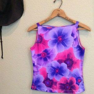 Vintage 90s pink and purple flower print top